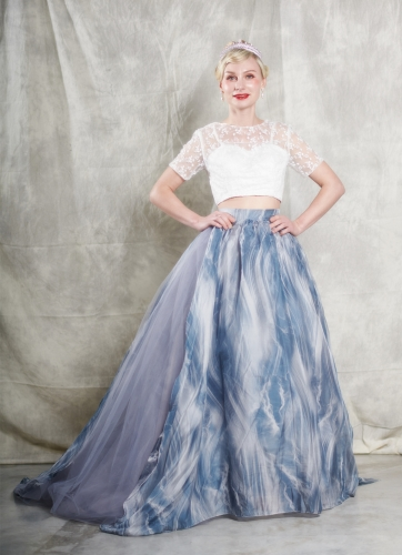 Dusty Blue  Long Train Bridal Skirt 2 Pieces Wedding Gown