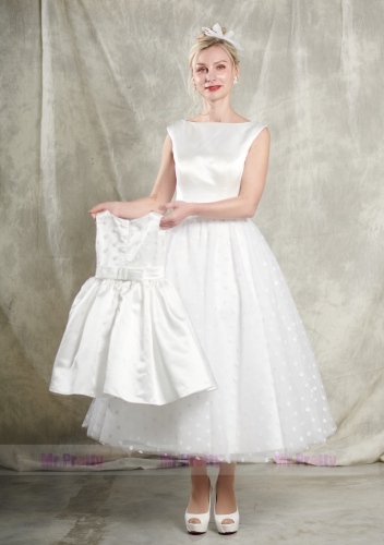 Ivory Satin Tulle Short Mother and Kids Party Dress