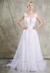 White Lace Tulle Wedding Gown Bridal Gown