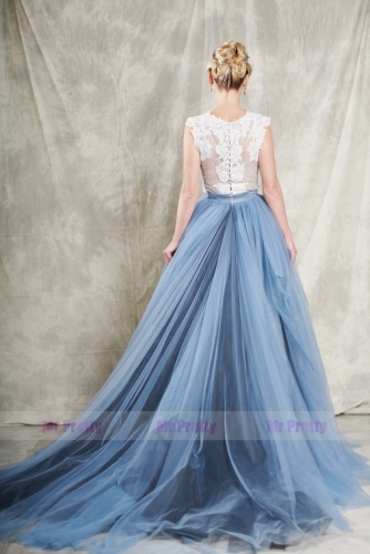 2 Pieces Lace Tulle  Wedding Gown Long Train Skirt