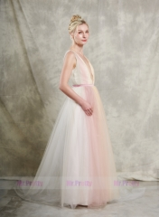 Colorful Long Training Wedding Gown Prom Dress