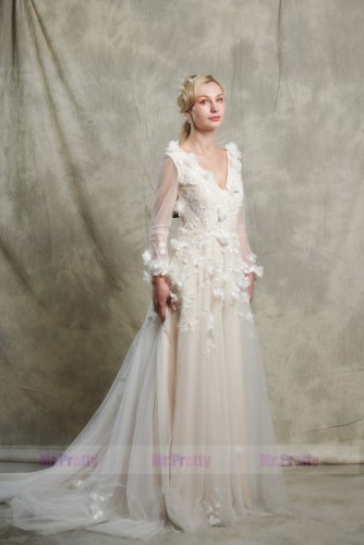 Ivory Lace Light Champagne Wedding Gown Bridal Gown