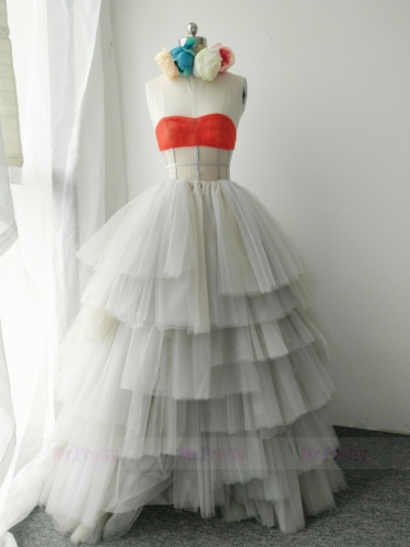 Light Grey Coral Wedding Gown Party Dress