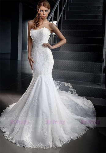 Ivory Lace Mermaid Wedding Ball Gown