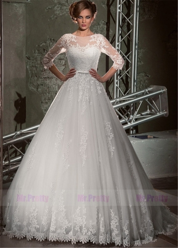 Ivory Lace Tulle Wedding Ball Gown