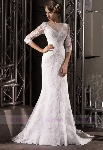 Ivory Lace Long Sleeve Mermaid Wedding Ball Gown