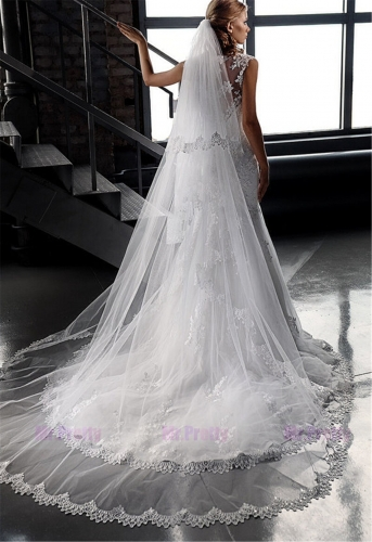 Ivory Lace Mermaid Wedding Ball Gown Free Veil