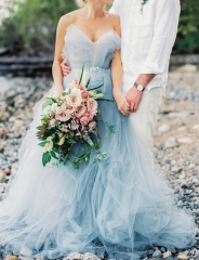 Custom Grey Blue Bridal Gown For Janet