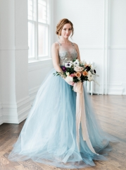 Ivory Beaded Grey Blue Bridal Gown Custom For Ann