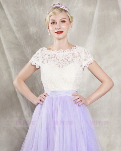 Ivory Lace Cap Sleeve Wedding Top