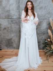 In Stock Ivory Lace Long Train Bridal Sleepwear