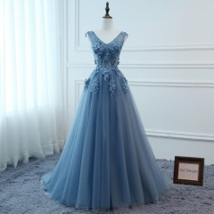 Grey Blue Tulle Flowers Prom Dress Bridesmaid Dress Sexy Prom Dress