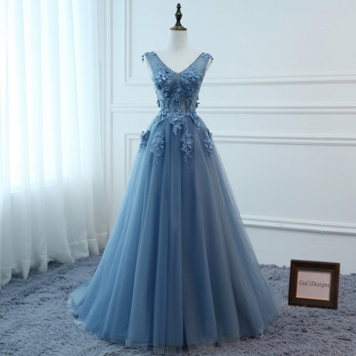 Grey Blue Lace Tulle Flowers Prom Dress Bridesmaid Dress Sexy Prom Dress