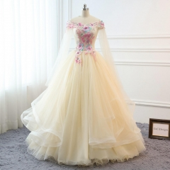 Light Yellow Tulle Flowers Prom Dress Bridesmaid Dress Sexy Prom Dress