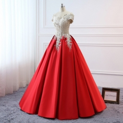 Red Satin Lace Prom Dress Bridesmaid Dress Sexy Prom Dress