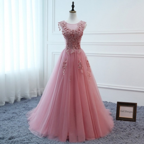 Pink Tulle Beads Prom Dress Bridesmaid Dress Sexy Prom Dress