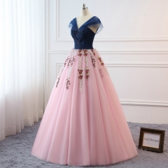 Navy Blue Lace Pink Prom Dress Bridesmaid Dress Sexy Prom Dress