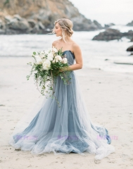 Grey Blue Lace Tulle Wedding Dress
