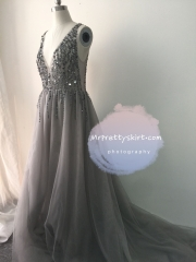 Light Grey Sexy Prom Dress Bridesmaid Dress Custom for C