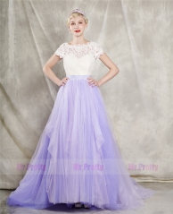 Lavender Tulle  Wedding Skirt 2 Pieces Wedding Dress