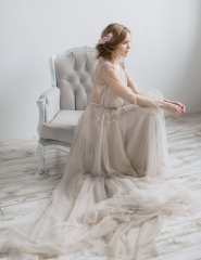 Light  Champagne Tulle  Wedding Skirt 2 Pieces Wedding Dress