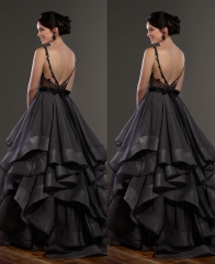 Black/Dark Grey  Tulle  Wedding Skirt 2 Pieces Wedding Dress