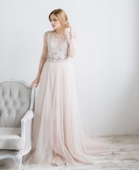 Blush Champagne Tulle  Wedding Skirt 2 Pieces Wedding Dress