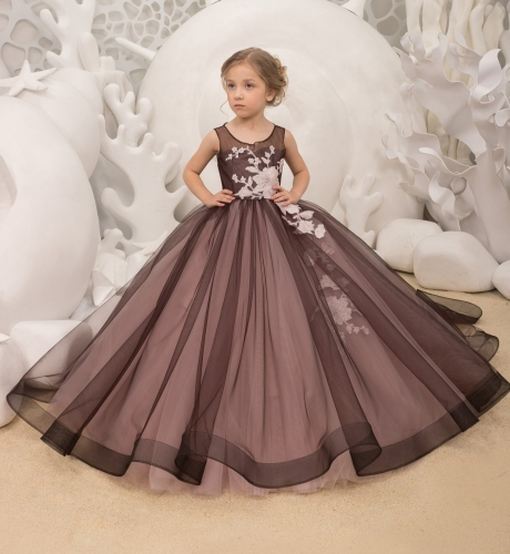 Black Mauve Lace Tulle Flower Girl Dress Pageant Dress
