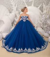 Blue  Tulle Flower Girl Dress Pageant Dress