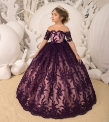 Purple Lace Tulle Flower Girl Dress Pageant Dress