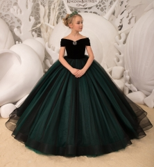 Black Velvet Tulle Flower Girl Dress Pageant Dress