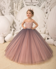 Navy Blue/Mauve  Lace Tulle Flower Girl Dress Pageant Dress