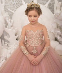 Pink Tulle Flower Girl Dress Pageant Dress