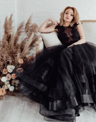 Black Tulle  Bridal Skirt 2 Pieces Wedding Skirt