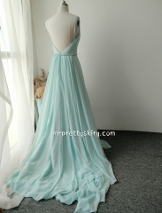 Silk Chiffon Long Train Wedding Skirt  Sexy Prom Dress