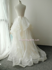 Light Champagne Organza long Train Wedding Skirt Bridal Skirt