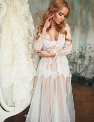 Lace Bridal Sleepwear Women Robe  Bridal Robe