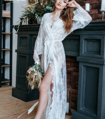 Lace Silk Bridal Sleepwear Women Robe  Bridal Robe