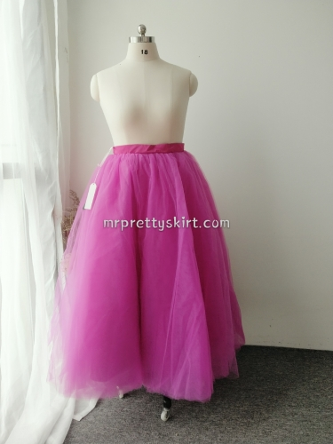 Rose pink Ankle Length Tulle Bridal Skirt Women Skirt
