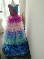 Rainbow Full Length Tulle Bridal Skirt Women Skirt