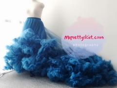 Blue Long Train Full Length Tulle Bridal Skirt Women Skirt