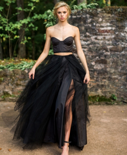 2 Pieces Black Wedding Dress Black Sexy Skirt