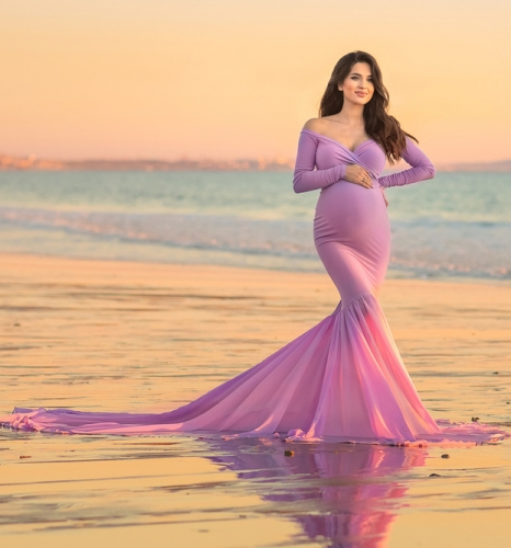 Mauve Maternity Sexy Prom Dress Bridesmaid Dress