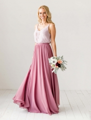 Mauve Chiffon Full Length Skirts Bridesmaid Skirts