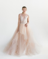 2 Pieces Long Train Wedding Dress  Long Train Tulle Bridal Skirt