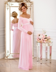 Pink Jersey Long Sleeve Maternity Sexy Prom Dress Bridesmaid Dress