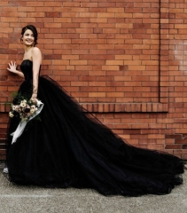 Black Two Pieces long Train Bridal Dress Wedding Skirt