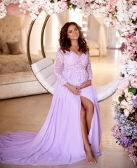 Purple Lace Chiffon Maternity Sexy Prom Dress Bridesmaid Dress