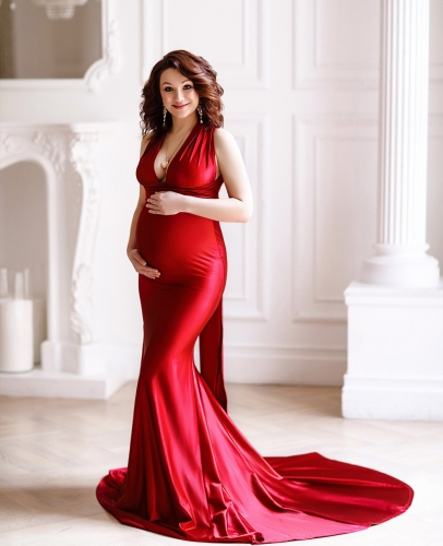 Burgundy  Maternity Sexy Prom Dress Bridesmaid Dress