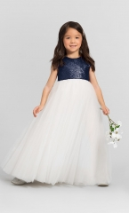 Sequin Tulle Full Length Flower Girl Dress